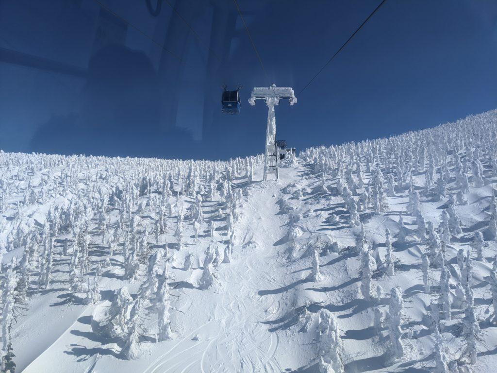 山形蔵王の樹氷ロープウェイからの景色