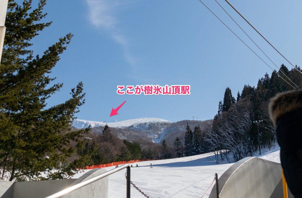 蔵王樹氷ロープウェイ山頂駅の場所