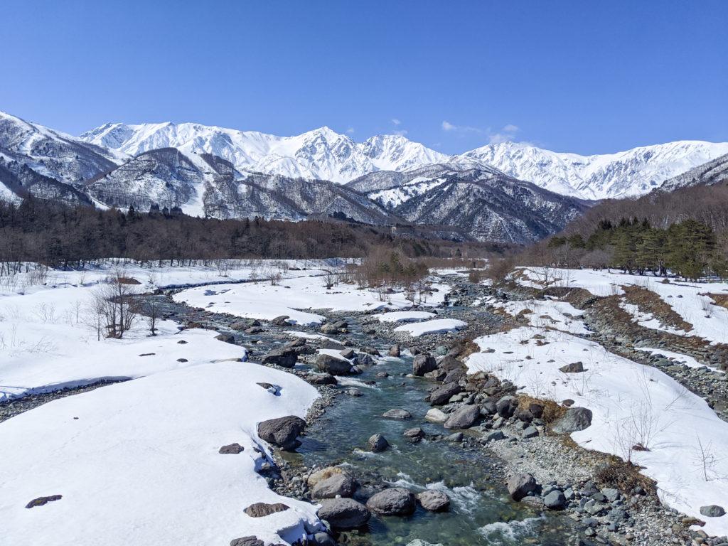 白馬大橋からの北アルプス白馬三山の絶景(冬)